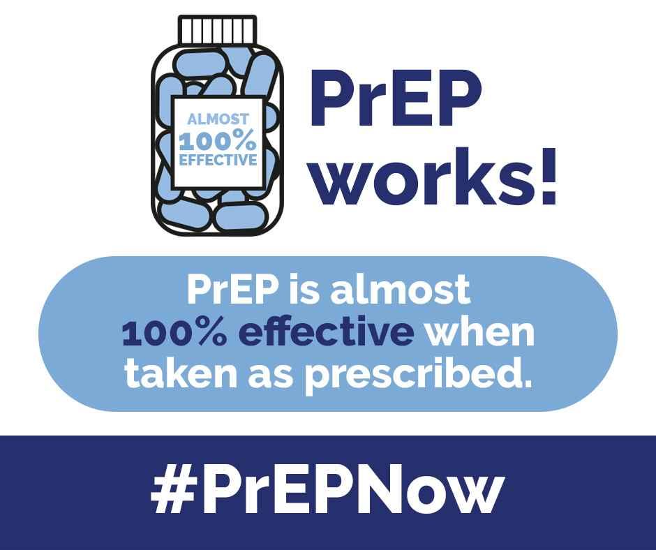 PrEP is almost 100% effective when taken as prescribed